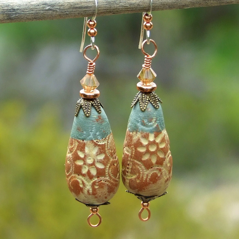terracotta and light aqua rustic flower teardrop earrings