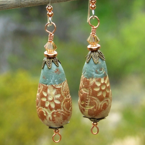 terracotta and light aqua rustic flower teardrop jewelry