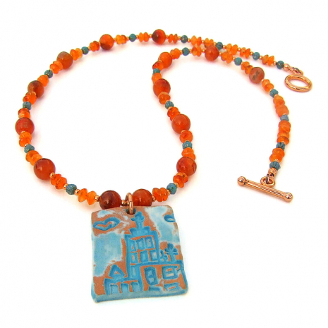 terracotta church necklace with carnelian gemstones