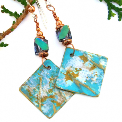 textured painted aqua gold white dangle earrings Czech glass