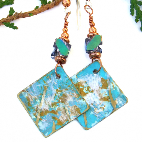 textured painted aqua gold white dangle jewelry Czech glass