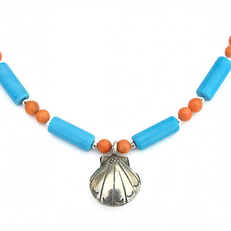 thai hill tribes shell pendant necklace gift for her