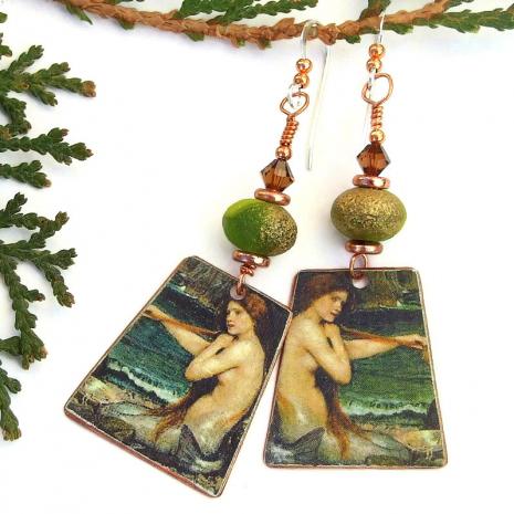 the mermaid john william waterhouse art earrings