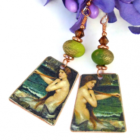 copper backside of mermaid earrings