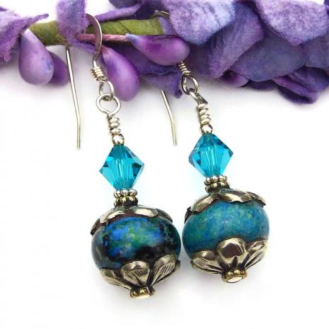 tibetan vintage azurite gemstone bead earrings