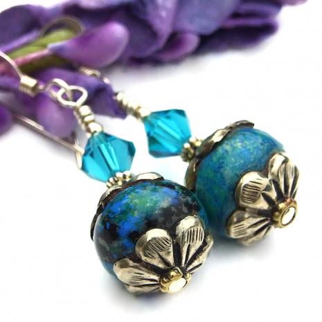 tibetan vintage azurite gemstone bead jewelry