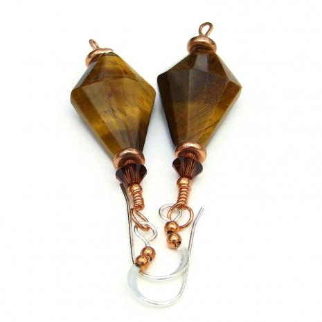 tigers eye copper gemstone jewelry  Swarovski crytals