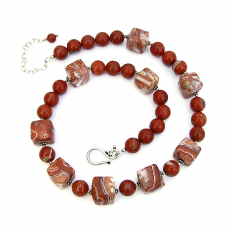 One of a kind rosetta lake agate and red flake jasper gemstone necklace.