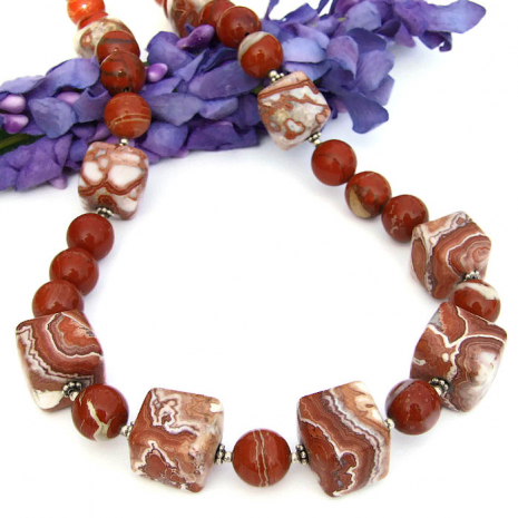 Rosetta lace agate handmade gemstone jewelry with red flake jasper
