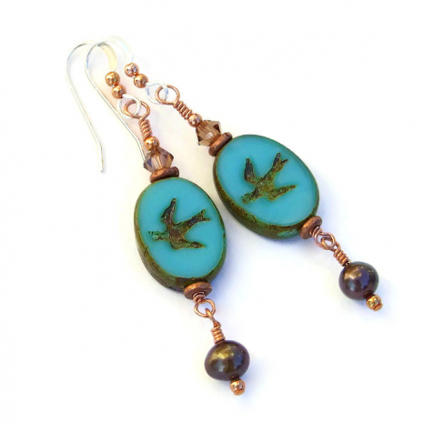 Handmade bird earrings.