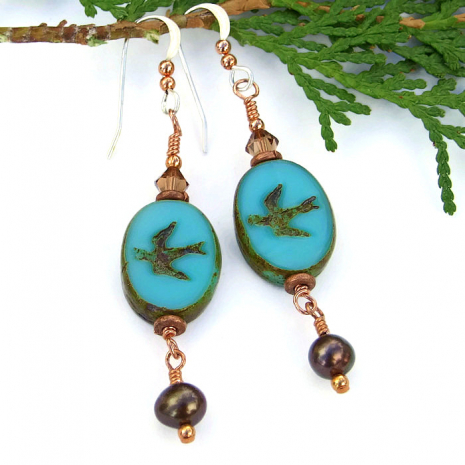 One of a kind bird earrings for women.