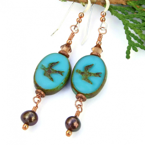 Swallow bird earrings.