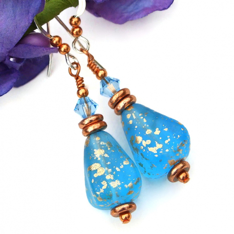 translucent capri blue gold glass and crytsal earrings