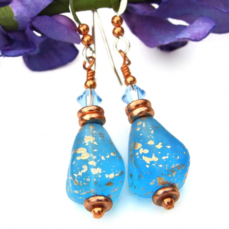 translucent capri blue gold glass crystal jewelry