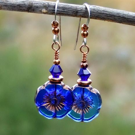 translucent flower earrings cobalt blue indigo copper
