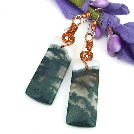 translucent moss agate gemstone earrings for women