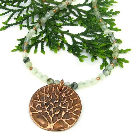 tree of life jewelry copper green prehnite gemstones