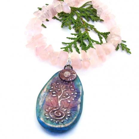 tree of life rose quartz handmade necklace