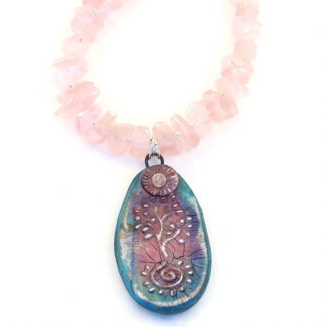 tree of life spiral jewelry rose quartz gift for women