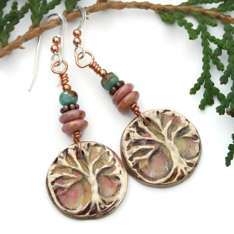 tree of life yggdrasil bronze dangle earrings