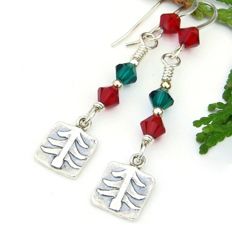 trees red green crystals jewelry Christmas holidays