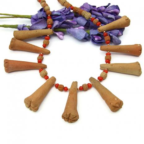Terra cotta tribal jewelry for women.