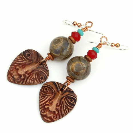 unique tribal face mask jewelry with tibetan eye agate