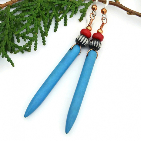 Unique handmade turquoise magnesite spike boho earrings.