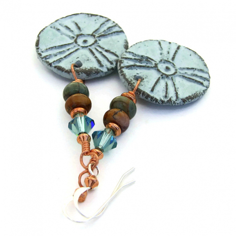 Tribal sun earrings for women.