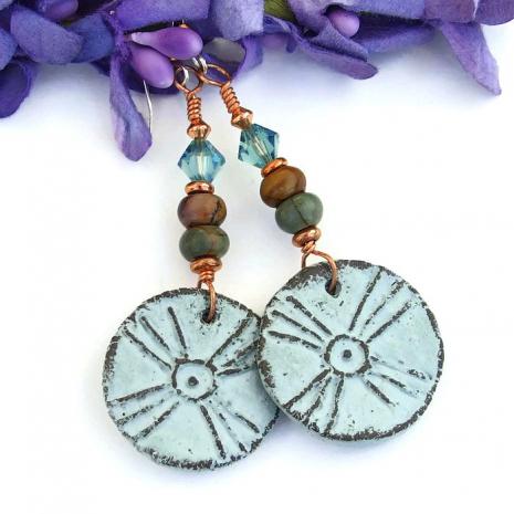 Unique ceramic tribal sun / cross earrings with jasper and Swarovski crystals.