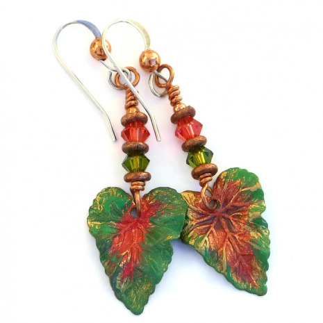 Handmade leaf earrings for women - gift idea
