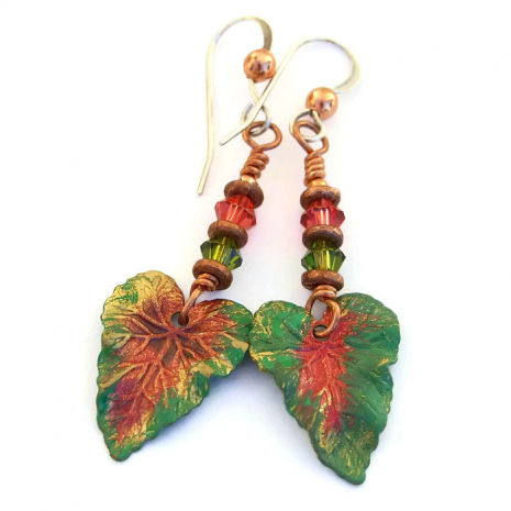 Colorful leaf earrings.