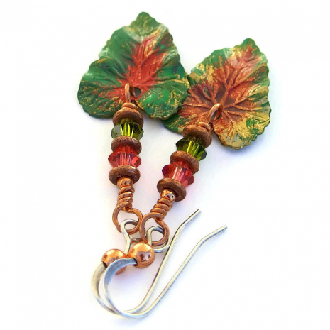 Handmade tropical leaf earrings with crystals.