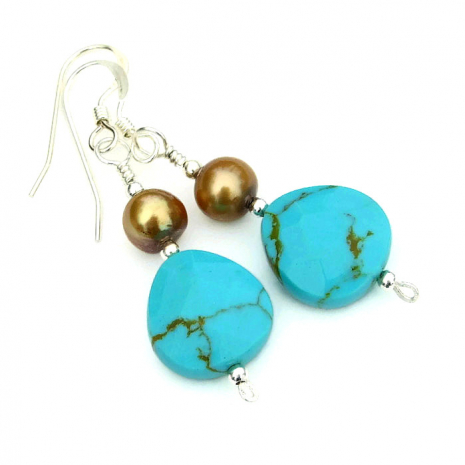 turquoise and pearls jewelry gift for her