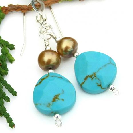 blue turquoise teardrop earrings for women