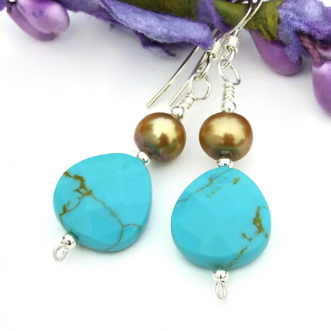 turquoise and pearl earrings gift idea