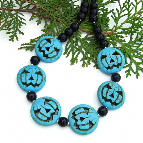 Jack O Lantern Halloween necklace