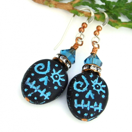 turquoise and black handmade halloween jewelry with swarovski crystals