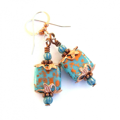 turquoise and copper Czech glass dangle earrings