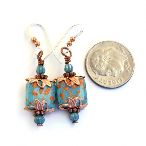 turquoise and copper Czech glass dangle jewelry