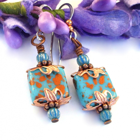 turquoise and copper czech glass earrings for her