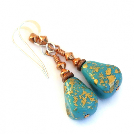 turquoise and copper earrings for her