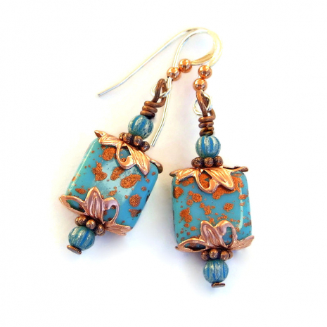 turquoise and copper handmade earrings gift for women