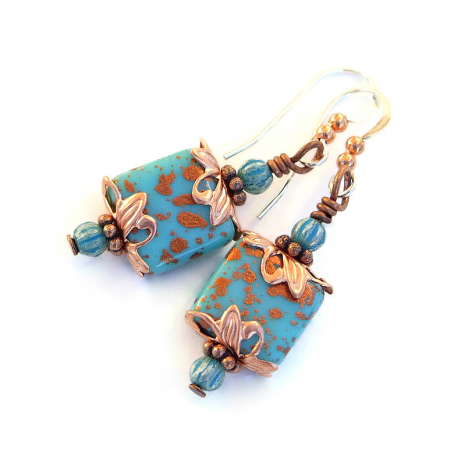 turquoise and copper handmade jewelry gift for women