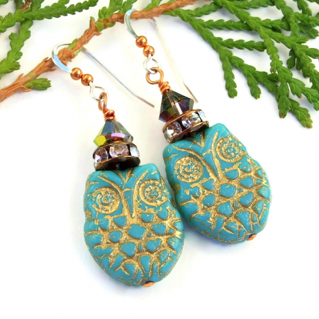 turquoise and gold Czech glass owl earrings gift for her