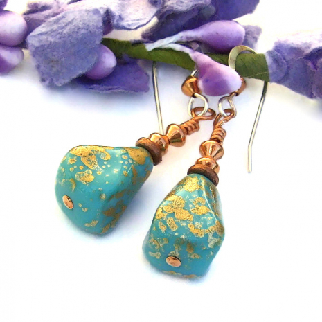 turquoise and gold czech glass pyramid earrings with copper