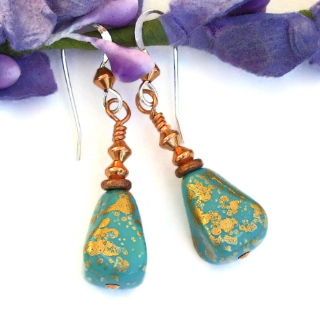 turquoise and gold czech glass pyramid jewelry with copper