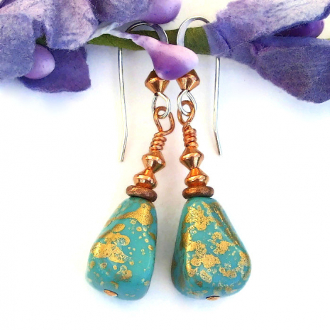 turquoise and gold dangle jewelry gift idea