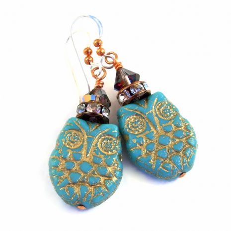 turquoise and gold owl earrings gift for women