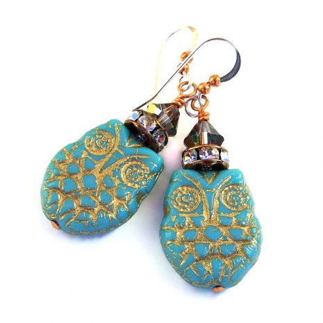 turquoise and gold owl jewelry gift for women